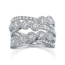 Cocktail Right Hand Ring Open Band Womens 1.53Ct 14K White Gold Round Diamond