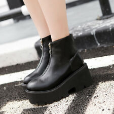 Women's Platform Ankle Boots Motorcycle Punk Gothic Fashion Front Zip Shoes New