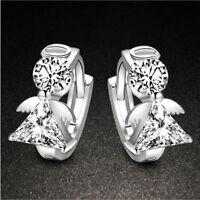 Women Silver plated Jewelry Angel Crystal Ear Stud Earrings