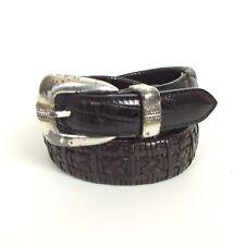 Roper Western Belt Sz 38 Black Braided Basketweave Full Grain Leather With Flaws