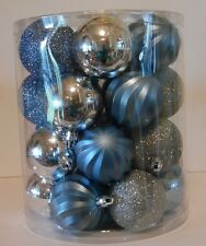 26 Blue Silver Assorted 2.25 In Shatter Resistant Christmas Ornament Decorations