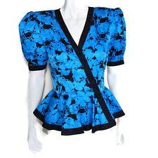 Vintage Maggy London Blue Black Peplum Shoulder Pad Blouse 100% Silk Floral sz 8