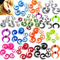 12X Acrylic Spiral Taper Flesh Tunnel Ear Stretcher Expander Stretch Plug Snail