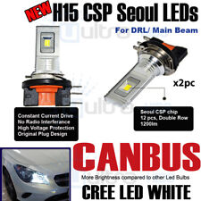 H15 High beam Drl CSP Seoul 12 Chip LED Headlight Bulb Canbus Error Free White
