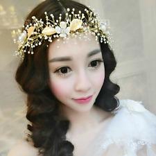 Wedding Princess Gold Leaf Pearl Flowers Crown Hair Band Tiara Headband