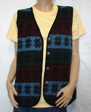 "Wool & Cotton Vest Size M Bust 38-40"" Erika Blue Red & Green Nordic Star"