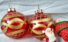 Vintage Christmas Ornament stenciled Unsilvered Red Balls 2 set gold Caps snB1A