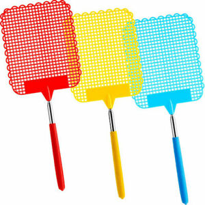 3 Pack Large Extendable Fly Swatter - Manual Swat Pest Control Telescopic Handle