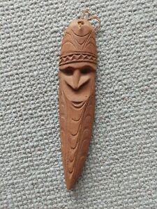Vintage PNG primitive wooden carved mask with original price tag.