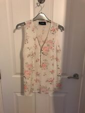 THE KOOPLES WHITE FLORAL 100% SILK TOP WITH ZIP SIZE S SMALL
