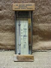 RARE Vintage Jewell County Thermometer & Barometer > Wood Metal Old Antique 7171