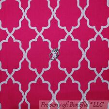 BonEful Fabric FQ Cotton Quilt Pink White Bright Girl Damask Baby Nursery Print