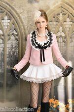 Lolita Maid Style Black & White Ruffle Neck Bow Wool Pink Jacket Coat CI-0028