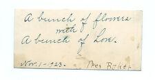 1923 Simon Strousse Baker Signed Card President Washington & Jefferson College