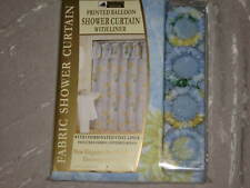 Printed Balloon Fabric Shower Curtain Liner Rings New!