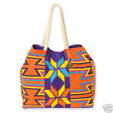 Sun Sand Org Purple Aztec Kaleidoscope Vacation Resort CanvasTote Handbag New