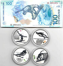 Russia 3 rubles , 4 Sochi 2014 Silver coins  with ONE 100 rubles bill in box