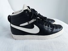 Ladies Black Leather Upper High Top Trainers Size 4 By Nike