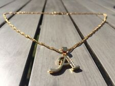 18ct Gold Filled Initial Necklace A, Alphabet Letter Pendant Chain Topaz Dainty