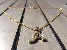 18ct Oro Lleno Collar inicial, una letra del alfabeto Colgante Cadena Topacio delicada
