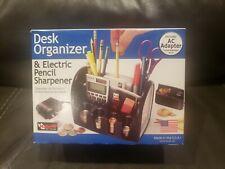 Desk Organizer + Electric Pencil Sharpener Coin Change Pen Holder for Office NEW
