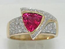 Pink Turmalin Ring 585 Gelbgold 14Kt Gold  46 Brillanten total 0,74ct H VS