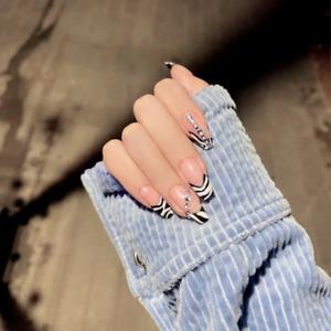 French Zebra Pattern Tips Fake Nails Long Coffin Full False Press On Nails Decor