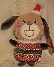 """Holiday Time PUP IN UGLY CHRISTMAS SWEATER Fetch Chew Plush Squeaky Dog Toy 9"""""""