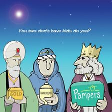 Merry Christmas Card with 3 Wise Men & Nappies -Funny Christmas Card -Xmas Card