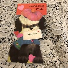 Vintage Greeting Card Valentine Daddy Dog Berret