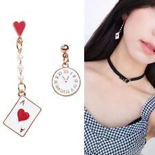 Creative Clock Poker Asymmetric Dangle Earrings Cute Stud Earring Women Jewelry