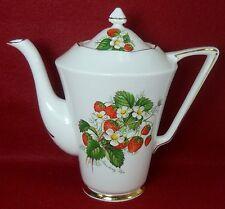 STAFFORDSHIRE china CROWNFORD mark STRAWBERRY RIPE pattern Coffee Pot & Lid