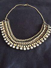 Fabtastic, New Gold Diamanté  Party Collar Statement Necklace Floral Gown Wear