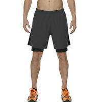 Asics Race 2-In-1 7 Inch Mens Grey Running Training Shorts Pants Bottoms