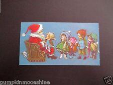 Vintage Unused Xmas Greeting Card Santa Listening to Kids Holiday Wishes