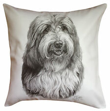 More details for bearded collie ms breed of dog themed cotton cushion cover - perfect gift