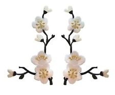 "#3958W 3""H White Quince Sakura Flower Embroidery Iron On Applique Patch /Pair"