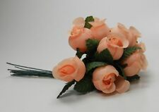 12 Miniature Silk Rose Buds with Wires -Wedding Floral/Dolls & Bear Making-Coral