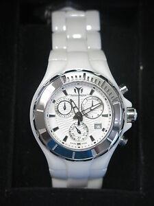 TechnoMarine Women's Cruise White Ceramic Chronograph Watch 110030C NEW! 29665