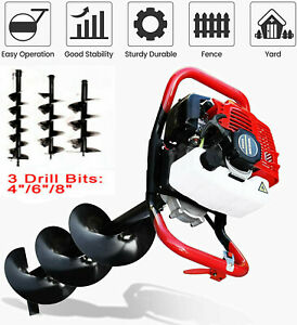 52CC Gas Powered Earth Auger Post Hole Digger Borer Fence Ground +3 Drill Bits