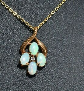 Boxed White Opal and Gold Plated Pendant/Necklace