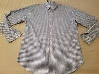 Mens Peter Millar Dress Shirt L Large Blue Button Cotton