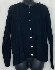 Vintage Blair Improved Living Womens Cardigan Sweater Black Acrylic Loose Knit L