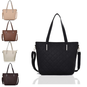New Womens Large  Vegan Leather Quilted Work Shopper Tote Handbag Shoulder Bag
