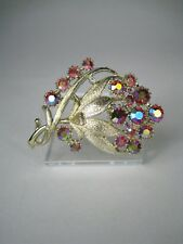 Coro Women's Brooch Signed Aurora Borealis Rhinestone Pin 1.5 in Tall 1950 Red