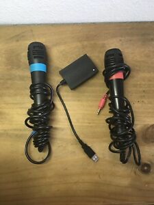 Sony PlayStation Singstar Microphones Bundle w/ Converter Blue And Red PS2 PS3