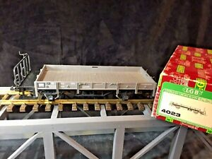 LGB 4023 Grey Low Sided Car w/ Metal Wheels In Original Box