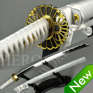 Sliver White Japanese Samurai Sword Hand Forged T10 Katana Gold Sunflower Tsuba