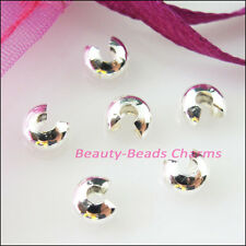 50Pcs Crimp Beads Covers 5mm Connectors Gold Dull Silver Bronze Plated