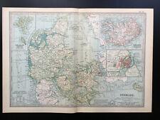 Antique Map Of Denmark & Iceland 1903